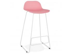 Tabouret de bar design 'BABYLOS' rose avec pieds en métal blanc