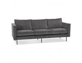 Canapé droit design 'BANDY' en velours gris foncé - canapé 3 places
