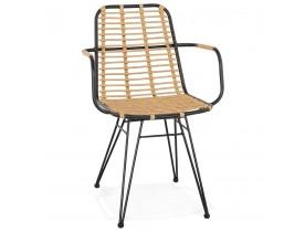 Chaise avec accoudoirs 'BASTIA' en rotin couleur naturelle et métal noir