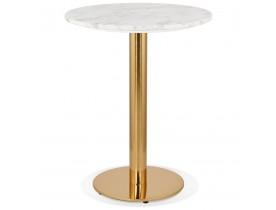 Petite table bistrot ronde 'BATIGNOL' en pierre blanche effet marbre et pied en métal doré - Ø 60 cm