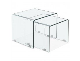 Set de 2 tables gigognes design 'BOBBY DOUBLE SIDE' en verre transparent