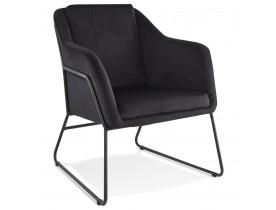 Fauteuil lounge design 'BRANDO' en velours noir