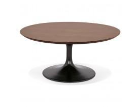 Table basse de salon ronde 'BUSTER MINI' en bois finition Noyer et pied en métal noir - Ø 90 cm
