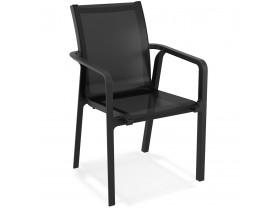 Chaise de jardin avec accoudoirs 'CINDY' en matière plastique noire empilable