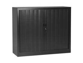 Armoire de bureau basse à rideaux 'CLASSIFY' grise foncée - 100x120 cm