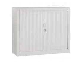 Armoire de bureau basse à rideaux 'CLASSIFY' grise - 100x120 cm