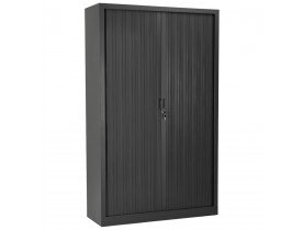 Armoire de bureau haute à rideaux 'CLASSIFY' grise foncée - 198x120 cm