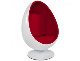 Fauteuil oeuf 'COCOON' blanc et rouge