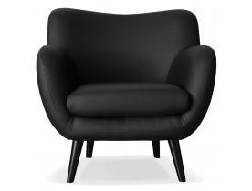 Fauteuil de salon 1 place COLETTE MINI en matière synthétique noire - Alterego