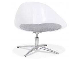 Chaise lounge design 'DAPHNE' en matière plastique blanche et tissu gris