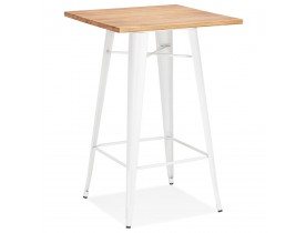 Table haute style industriel 'DARIUS' en bois foncé et pieds en métal blanc