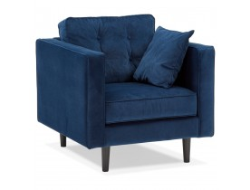 Fauteuil de salon 1 place 'DELYA MICRO' en velours bleu foncé