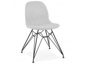 Chaise design 'DECLIK' grise claire avec pieds en métal noir