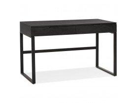 Bureau droit design 'DOMINIK' en bois et métal noir - 120x60 cm