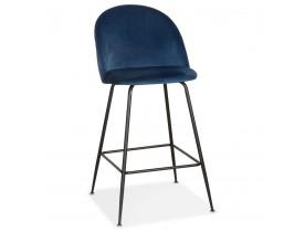 Tabouret de bar 'DUPONT' en velours bleu et métal noir - commande par 2 pièces / prix pour 1 pièce