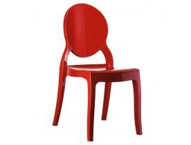 Chaise médaillon 'ELIZA' rouge en matière plastique