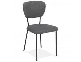Chaise design 'ESCOLA' en tissu gris et structure en métal noir