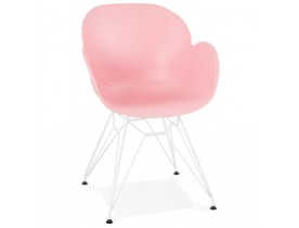 Chaise moderne 'FIDJI' rose avec pieds en métal blanc