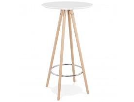 Table haute / Mange-debout rond 'GALA' en bois blanc et pieds finition naturelle