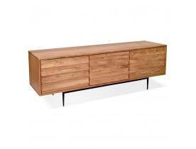 Meuble TV design 'GALILEO' en bois d'Acacia et pieds en métal noir