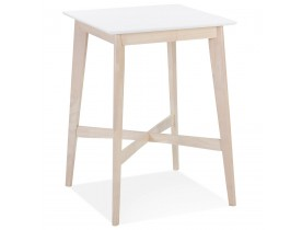 Table haute 'GALLINA' en bois blanc et finition naturelle