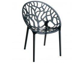 Chaise moderne 'GEO' noire transparente en matière plastique