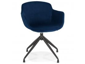 Chaise design avec accoudoirs 'GRAPIN' en velours bleu