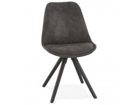 Chaise confortable 'HARRY' en microfibre grise et pieds en bois noir