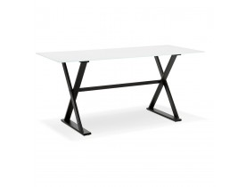 Table à diner / bureau design HAVANA en verre blanc - 160x80 cm - Alterego