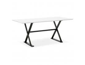 Table à diner / bureau design HAVANA en bois blanc - 180x90 cm - Alterego