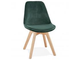 Chaise en velours vert 'JOE' avec structure en bois naturel