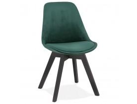 Chaise en velours vert 'JOE' avec structure en bois noir