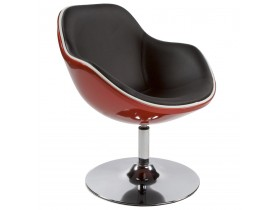 Fauteuil design 'KOK' pivotant rouge et noir style retro