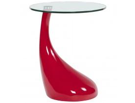 Table d'appoint 'KOMA' design en verre et pied rouge