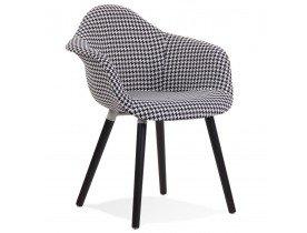 Chaise design avec accoudoirs 'LARA' en tissu pied de poule noir et blanc