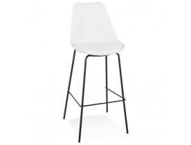 Tabouret de bar design 'LEMON' blanc avec pied en métal noir