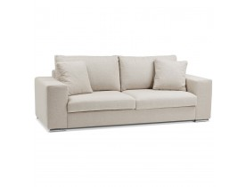 Canapé droit design 'LUCA LARGE' en tissu beige - Canapé 2,5 places