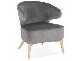 Fauteuil lounge vintage 'LUXY' en velours gris et pieds en bois finition naturelle