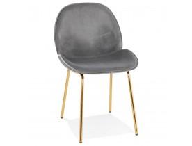 Chaise vintage 'MAGALY' en velours gris foncé et pieds en métal doré
