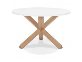 Table ronde design 'MARVEL' blanche et chêne massif - Ø 120 cm