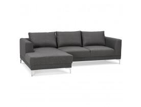 Canapé d'angle design 'MELTING' gris foncé avec méridienne (angle à gauche)