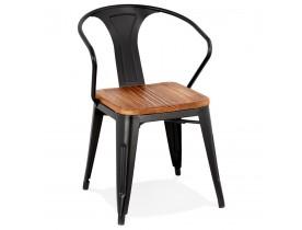 Chaise style industriel 'METROPOLIS' en métal noir - commande par 2 pièces / prix pour 1 pièce