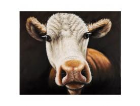 Tableau design 'MEUUUH' entièrement peint à la main 100x120cm