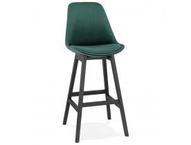 Tabouret de bar 'MORISS' en velours vert et pieds en bois noir