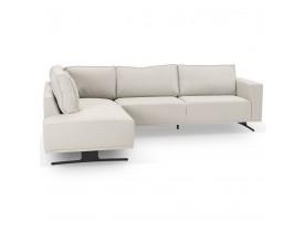 Canapé d'angle design 'MOZART LOUNGE' beige (angle à gauche)