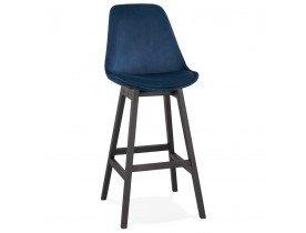 Tabouret de bar 'MORISS' en velours bleu et pieds en bois noir