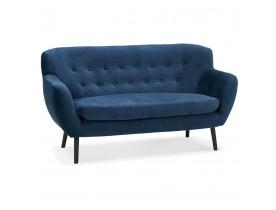 Canapé droit 2 places 'OPERA' en velours bleu pétrole