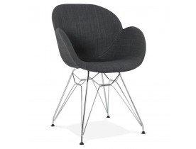 Chaise moderne 'ORIGAMI' en tissu gris foncé avec pieds en métal chromé