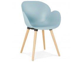 Chaise design scandinave 'PICATA' bleue avec pieds en bois
