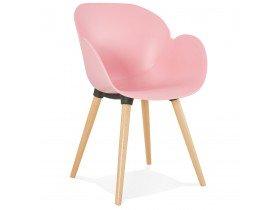 Chaise design scandinave 'PICATA' rose avec pieds en bois
